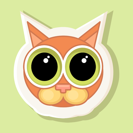 A voluminous sticker with a depicted cat with big eyes in cartoon style, isolated on a simple background, an image of a cat with a contour. Feeling of guilt, apology. Illustration