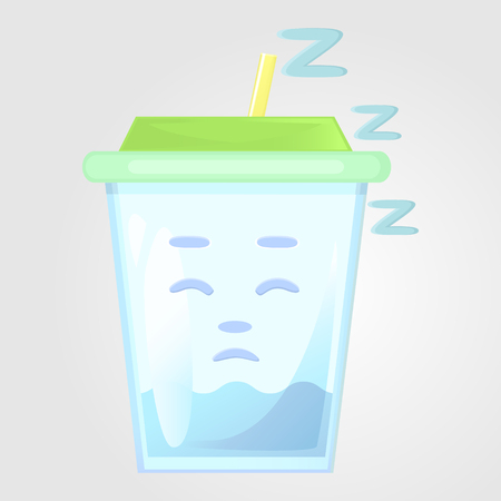 A glass of juice with a lid and a tube. Summer drink. Emotional icon, asleep, tired, sleepy. Water in the cartoon style. Vector illustration isolated on a gray background.