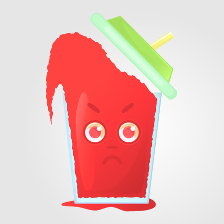 boils: A glass of juice with a lid and a tube. Summer drink. Emotional icon, angry, dissatisfied, boils with anger. Red juice in a cartoon style. Vector illustration isolated on a gray background.
