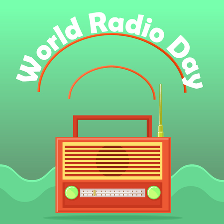 world receiver: Web banner to the world radio day. Isolated on an abstract background radio receiver icon with an antenna and conditional radio waves. Retro. Vector Illustration.