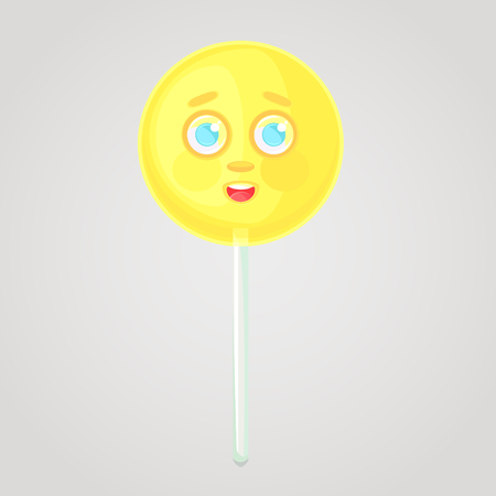 Yellow candy is an emotional icon, voluminous with a face, on a stick. Round caramel. Shy candy. Sweet food. Cartoon style. Object isolated on a gradient background. Illustration