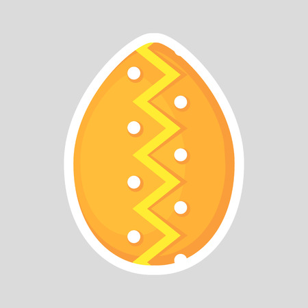 Easter orange egg icon isolated on a gray background. Volumetric with a white outline, with colored contrasting ornament of zig zag line and points. Vector Illustration. Spring holiday. Illustration
