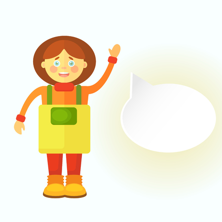 A flat gardener girl in a yellow apron greets you. Displays a cloud for dialog. You can leave your text there. Objects isolated on white background. Illustration