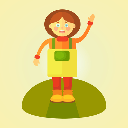A flat gardener girl in yellow apron greets you on a conventional green piece of grass. Objects isolated on gradient background.