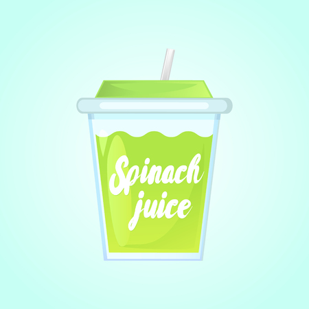 blended: A glass of fresh spinach juice in a glass bowl with a straw. Advertising of the product. Vector illustration. Isolated on a gradient background. Illustration
