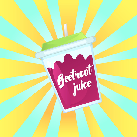 A glass of fresh beetroot juice in a glass bowl with a straw. Advertising of the product. Vector illustration.