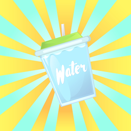 A glass of water in a glass bowl with a straw. Advertising of the product. Vector illustration.
