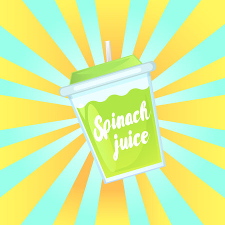 A glass of fresh spinach juice in a glass bowl with a straw. Advertising of the product. Vector illustration. Illustration