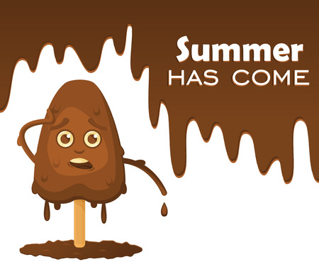 Melting chocolate ice cream on a stick with emotions. Melting chocolate with drops, text on the object Summer has come. Illustration