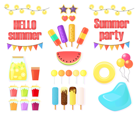 Big set of objects for summer party isolated on white background. Watermelon, garlands, drinks, festive flags, an inflatable circle and an armchair, ice cream and candy on a stick, balloons. Cartoon.