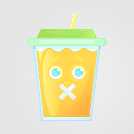 A glass of juice with a lid and a straw. Summer drink. Emotional icon, silent, mouth shut, mouth plastered. Orange juice in cartoon style. Vector illustration, isolated on gray background.