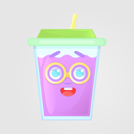 A glass of juice with a lid and a straw. Summer drink. Emotional icon, funny, botanist, in big glasses. Purple juice in cartoon style. Vector illustration, isolated on gray background.