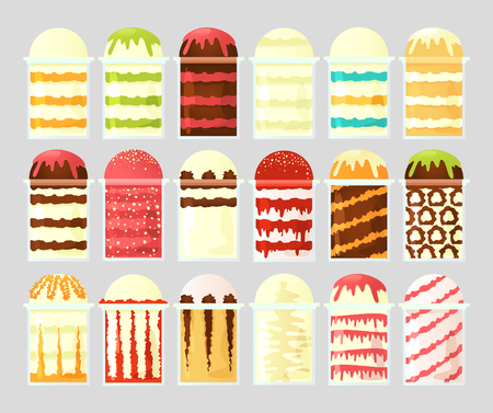 A set of ice cream in transparent cups with different fillings. Street food. Vector illustration.