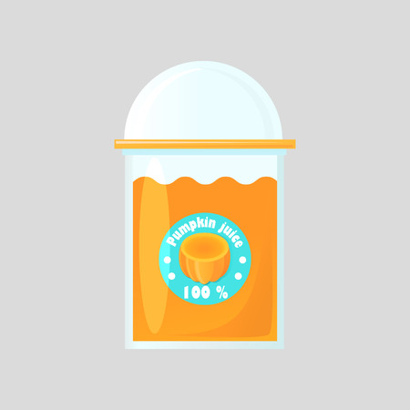 helpful: A glass of fresh pumpkin juice in a glass bowl with a product logo. Transparent glass closed with a round lid. Design of packaging for juice. Isolated on gradient background.