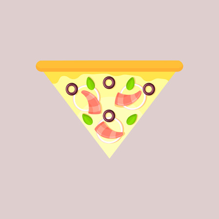 Triangular slice of cheese pizza with olive, basil, onion and shrimp. Seafood. Flat slice, top view, isolated on a gray background.