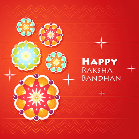 Greeting card for Raksha Bandhan with abstract geometric flowers, decorations. Vector illustration.