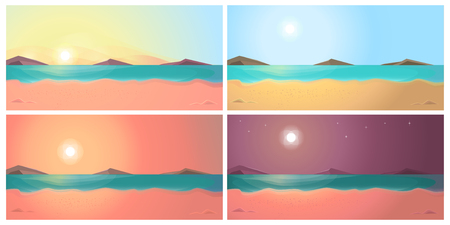 Change of time of day on the beach: dawn, day, evening, night.