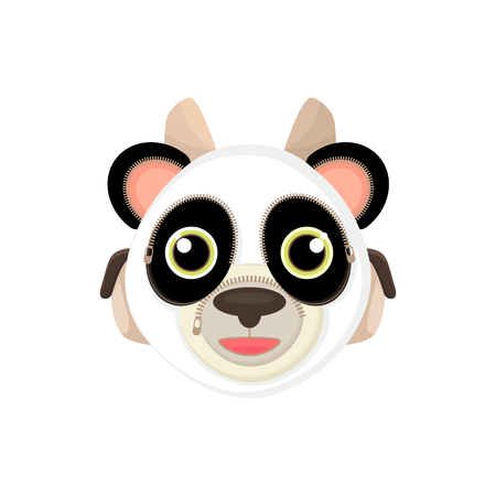 webbing: Back to school, things for study - an unusual stylized briefcase on the webbing for a cartoon animal. Cartoon panda, vector illustration.