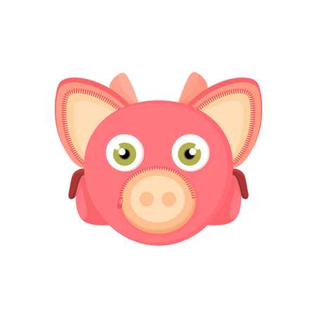 webbing: Back to school, things for study - an unusual stylized briefcase on the webbing for a cartoon animal. Cartoon pig, vector illustration.