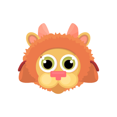 Childrens school bag on the straps completely stylized as a cartoon lion face. Isolated object. Vector illustration, cartoon style, back to school.