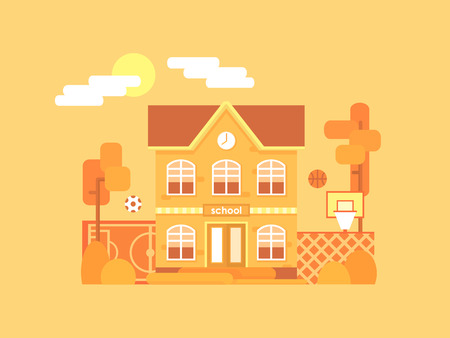 Flat composition of the school and its backyard: a football field and a basketball court with a ball. Its time for autumn. Yellowed bushes and trees. Vector illustration. Illustration