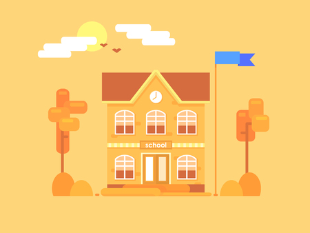 Flat composition of the school. Its time for autumn. Yellowed bushes and trees. Vector illustration.