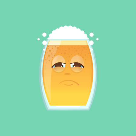 screwed: Character glass with beer, foam and bubbles. Emotional icon. Sadness, tired, sick.