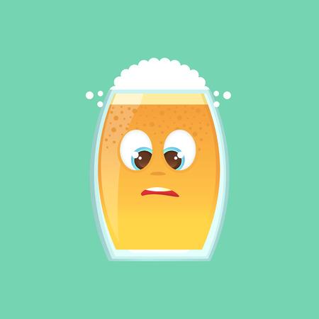 맥주, 거품과 거품 문자 유리입니다. 우스꽝스럽고 재미 있고 어색한 코를 보며 눈을 비스듬히 쳐다 보죠. 감정적 인 아이콘입니다. 옥토버 페스트. 메