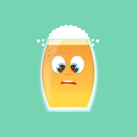 awkward: Character glass with beer, foam and bubbles. Ludicrous, funny, awkward looks at his nose, slanting eyes. Emotional icon. Oktoberfest. Stickers for messenger and other communications. Vector illustration in a cartoon style.