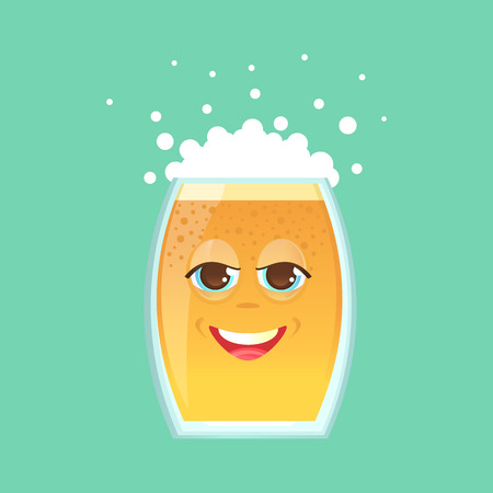 Character glass with beer, foam and bubbles. Emotional icon. Angry, smirk, squinted eyes. Oktoberfest. Stickers for messenger and other communications. Vector illustration in a cartoon style. Illustration