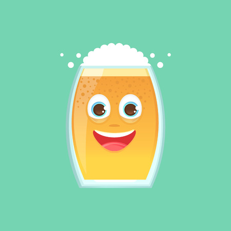 Character glass with beer, foam and bubbles. Emotional icon. Sincerely happy, smiling. Oktoberfest. Stickers for messenger and other communications. Vector illustration in a cartoon style.