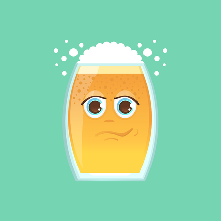 celebration smiley: Character glass with beer, foam and bubbles. Emotional icon. Narcissist, narcissist, smirk, handsome. To the day of the Oktoberfest. Stickers for messenger and other communications. Illustration