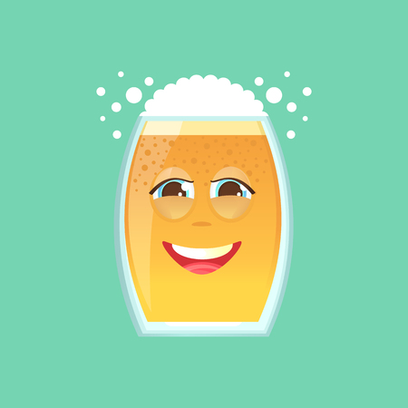 screwed: Character glass with beer, foam and bubbles. Emotional icon. Embarrassed smile, in love, dear. To the day of the Oktoberfest. Stickers for messenger and other communications. Cartoon style. Illustration