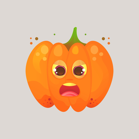 Character cartoon pumpkin. Emotional icon. His eyes squinted, screaming, in a frenzy, not in himself. Halloween. Stickers for messenger and other communications. Ilustração
