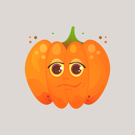 Character cartoon pumpkin. Emotional icon. Narcissist, narcissist, smirk, handsome. To the day of the Halloween. Stickers for messenger and other communications.