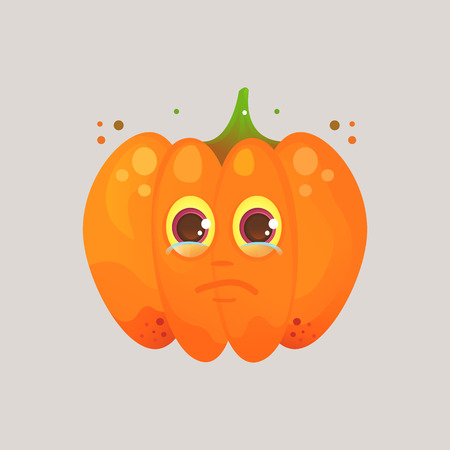 Character cartoon pumpkin. Emotional icon. Annoyance, crying, tears in my eyes. To the day of the Halloween.  Cartoon style. Sticker for messengers and other communications. Illustration