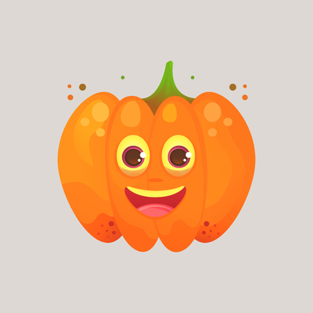 Character cartoon pumpkin. Emotional icon. Sincerely happy, smiling. Halloween. Stickers for messenger and other communications. Vector illustration in a cartoon style.