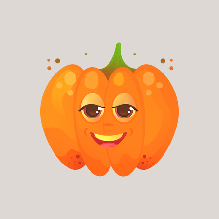 Character cartoon pumpkin. Emotional icon. Angry, smirk, squinted eyes. Halloween. Stickers for messenger and other communications. Vector illustration in a cartoon style.