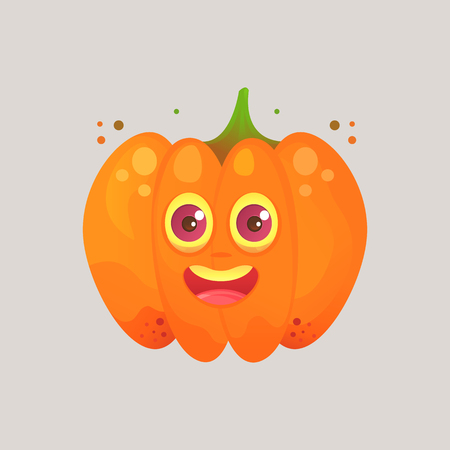 Character cartoon pumpkin. Emotional icon. Unexpected surprise, joy, surprised look. To the day of Halloween. Sticker for messengers and other communications. Cartoon style.