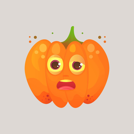 Character cartoon pumpkin. Emotional icon. Drunk, sleepy, tired with squinted eyes, in perplexity. To the day of the Halloween. Stickers for messenger and other communications. Illustration
