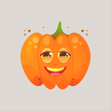 screwed: Character cartoon orange pumpkin. Emotional icon. Embarrassed smile, in love, dear. To the day of the Halloween. Stickers for messenger and other communications. Cartoon style.