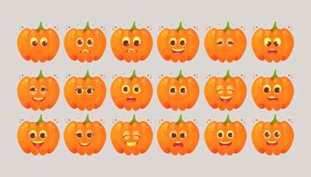 Big set of emotional icons of cartoon pumpkin. Stickers for messengers and other communications. To the day of Halloween. Autumn holidays. Vector illustrations in cartoon style.
