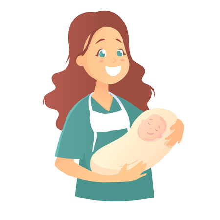 A smiling female doctor holds a newborn baby in her arms. Vector illustration in cartoon style, isolated on white background.