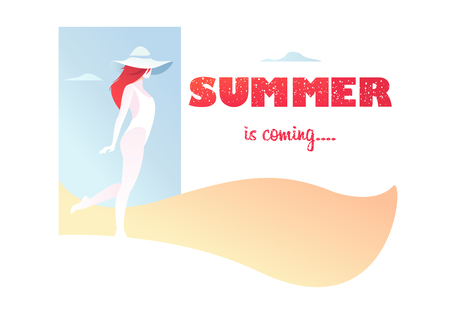 Card with text summer came, the girl on an abstract background in a swimsuit, hat, walks along the beach. Flat composition, romantic mood. Graphic vector illustration. Ilustração