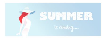 Banner with text summer came, the girl on an abstract background in a swimsuit and hat. Flat composition, card. Romantic mood. Graphic vector illustration.