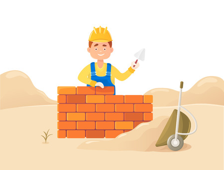 A man builder with a trowel in his hand. Against the backdrop of a drift of sand and an inverted wheelbarrow. Housing construction. Flat composition, isolated on white background