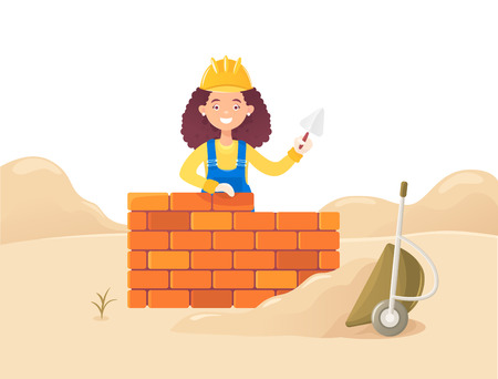 A woman builder with a trowel in her hand. Against the backdrop of a drift of sand and an inverted wheelbarrow. Housing construction. Flat composition, isolated on white background