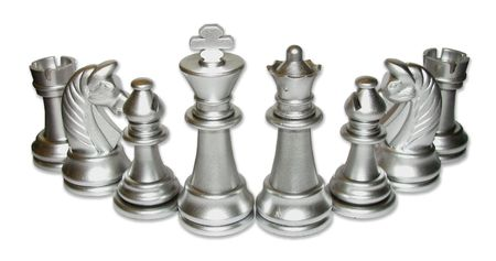 Silver chess  gathering. White background. Isolated image.  relationship type. Stock Photo