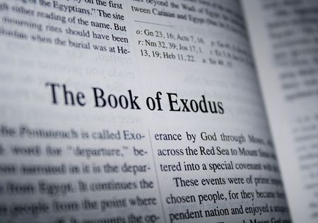 Bible - the book of exodus. Taken from catholic study bible. Stock Photo