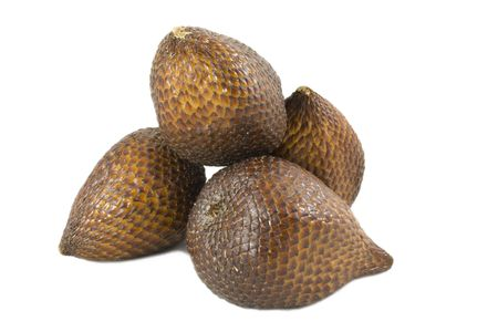 salak: Isolated close-up zoom delicious exotic asian snake fruit food, as known as salak fruits.